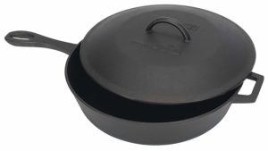 The Bayou Classic 7445 Cast Iron Covered Skillet is pictures over a field of white