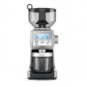 The Breville BCG820BSSXL The Smart Grinder Pro is pictured over a field of white