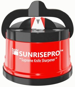 The SunrisePro Supreme Knife Sharpener is pictured over a field of white