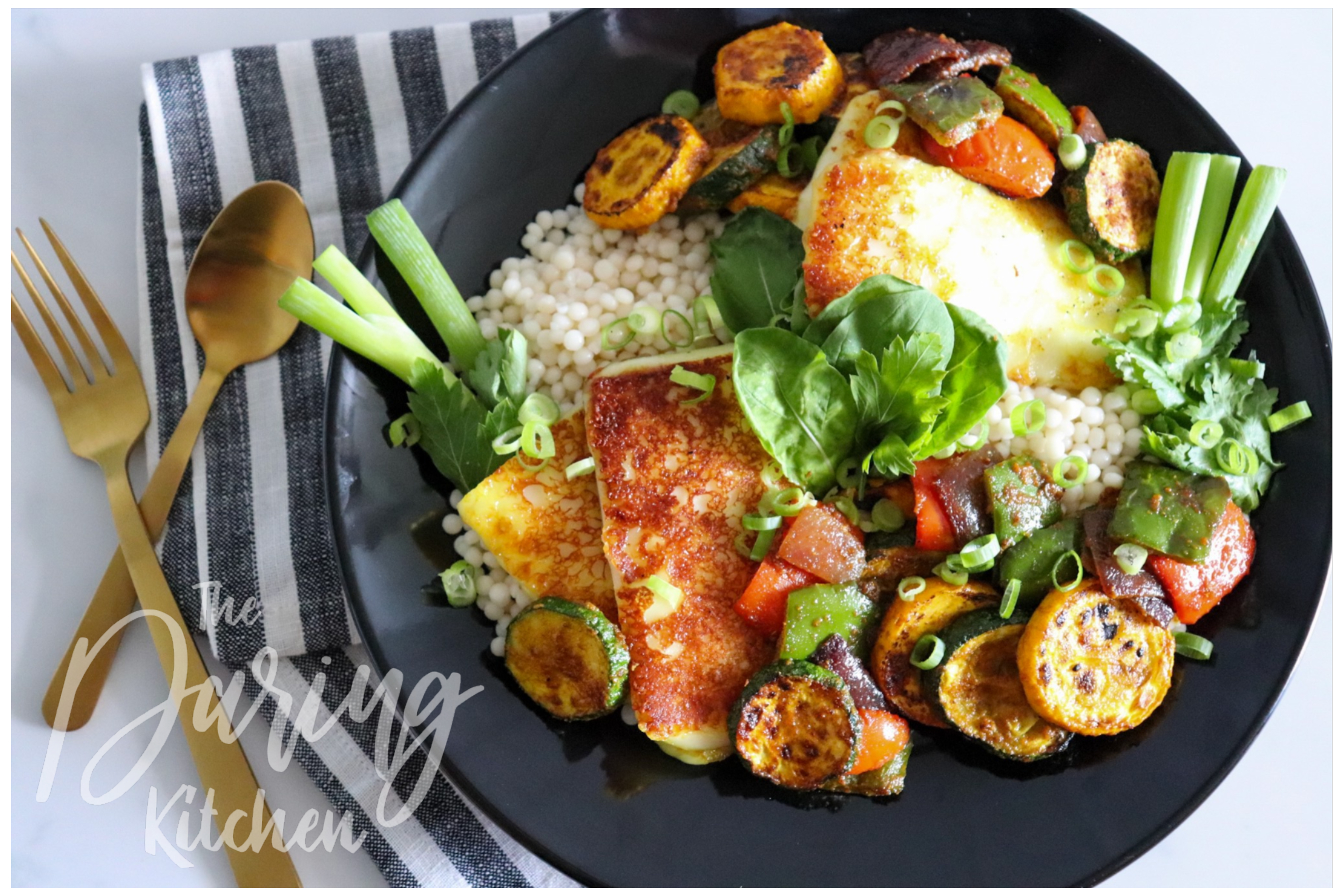 Couscous with Tandoor Vegetables and Halloumi