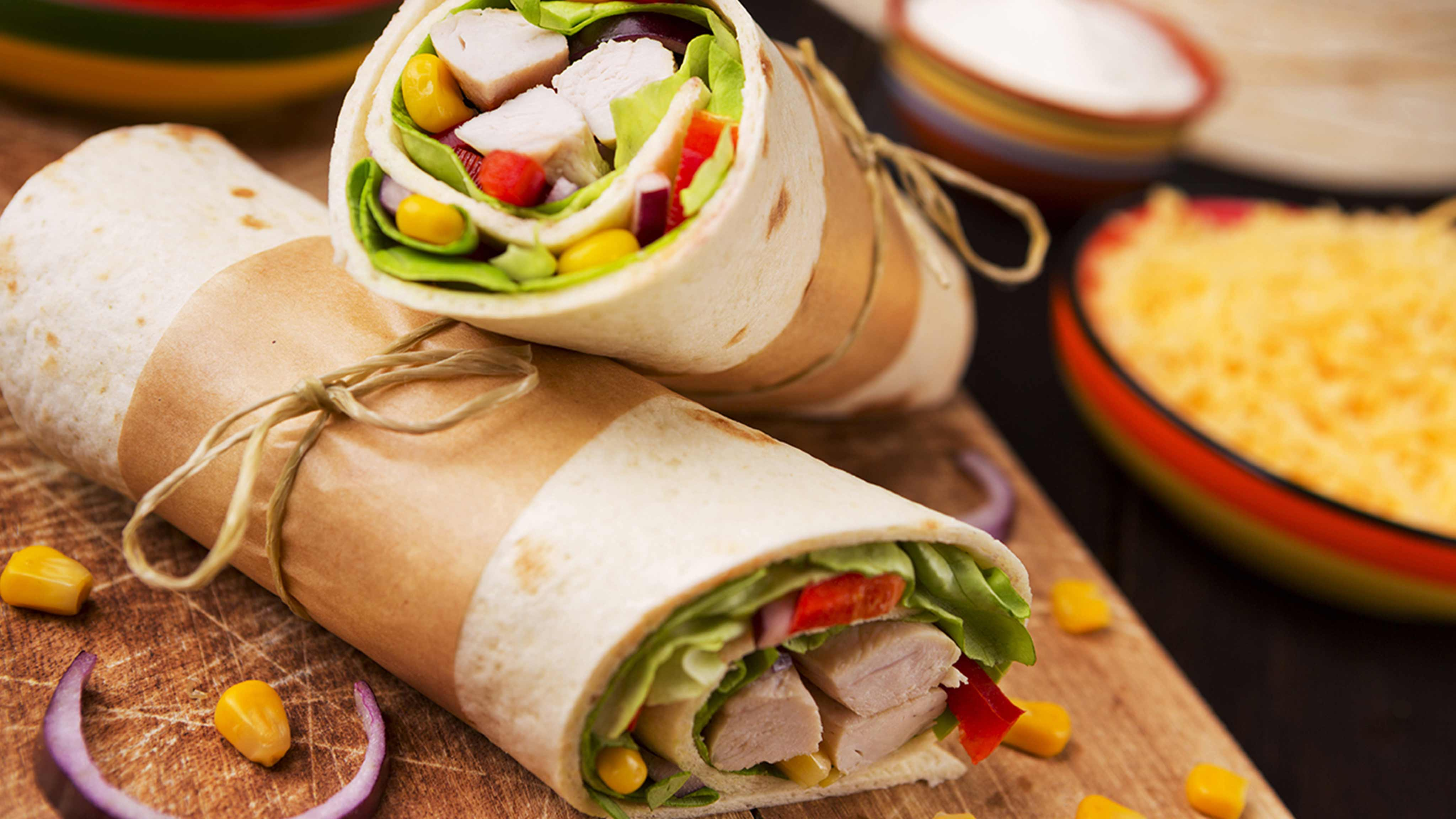 Two wraps stacked on top of one another