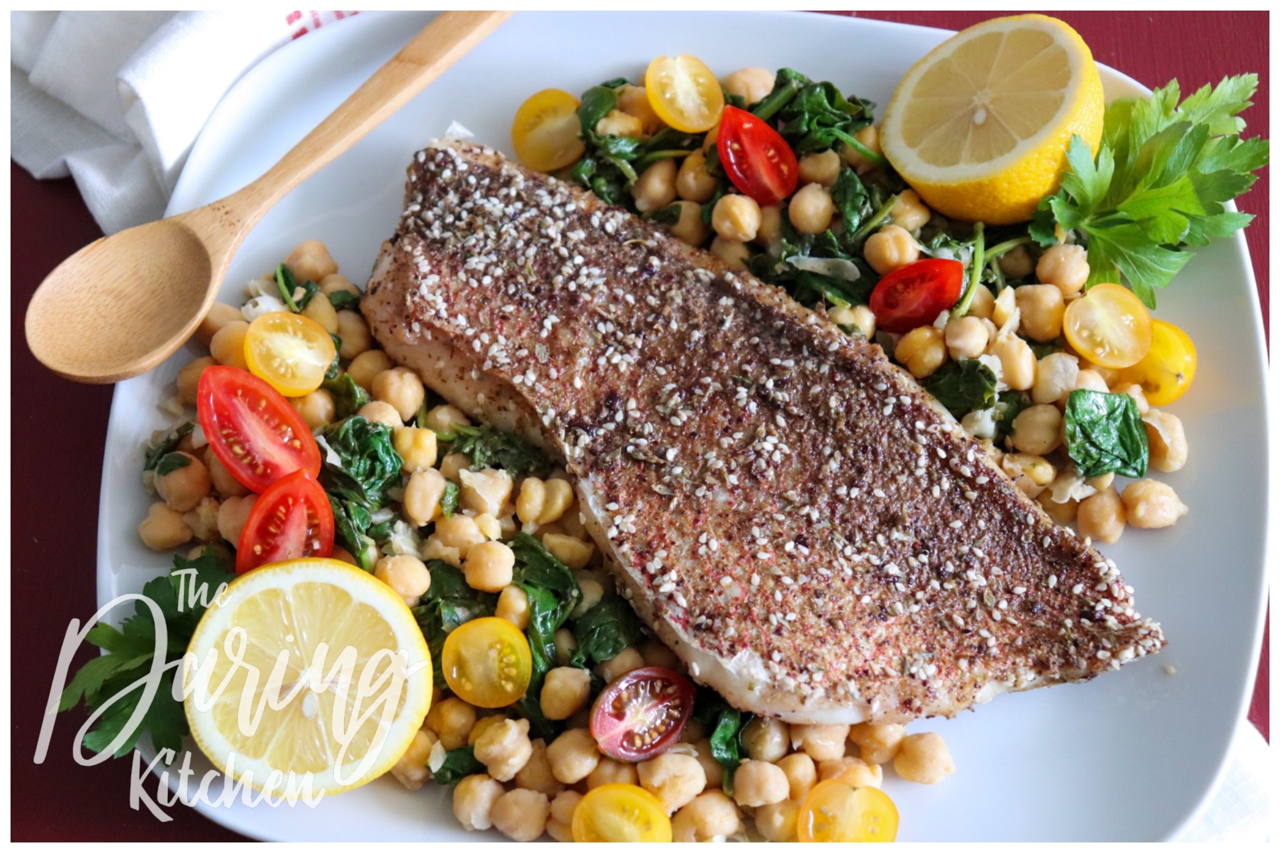 Za'atar Baked Snapper with Chickpeas and Greens